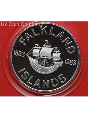 1983 Falkland Islands 150th Anniversary Silver Proof 50p Fifty Pence Coin